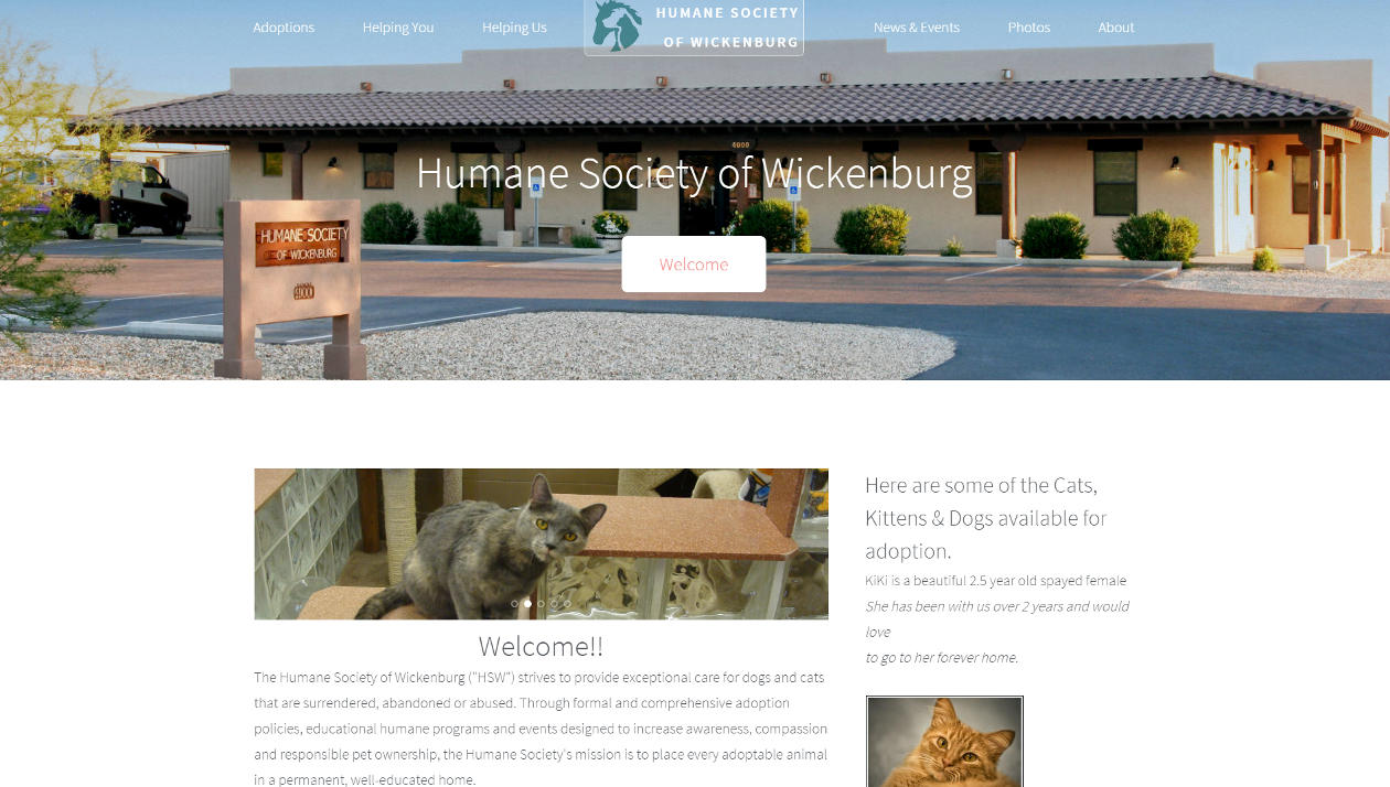 Wickenburg Humane Society Screenshot